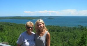 Betty and Brielle in front of Lake Superior in Canada